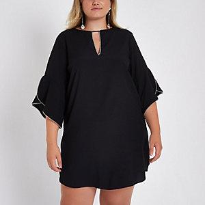 Plus frill sleeve mini dress