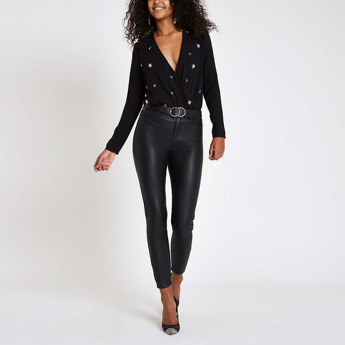 Black pearl embellished wrap front bodysuit