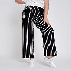 RI Plus - Zwarte gestreepte broek met wijde pijpen