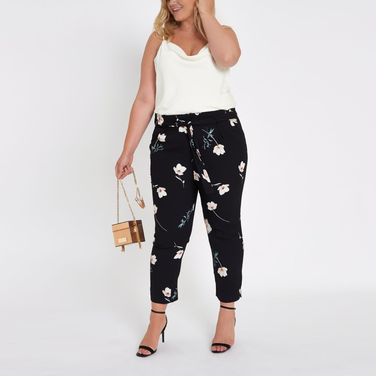 Plus black floral tie waist tapered trousers