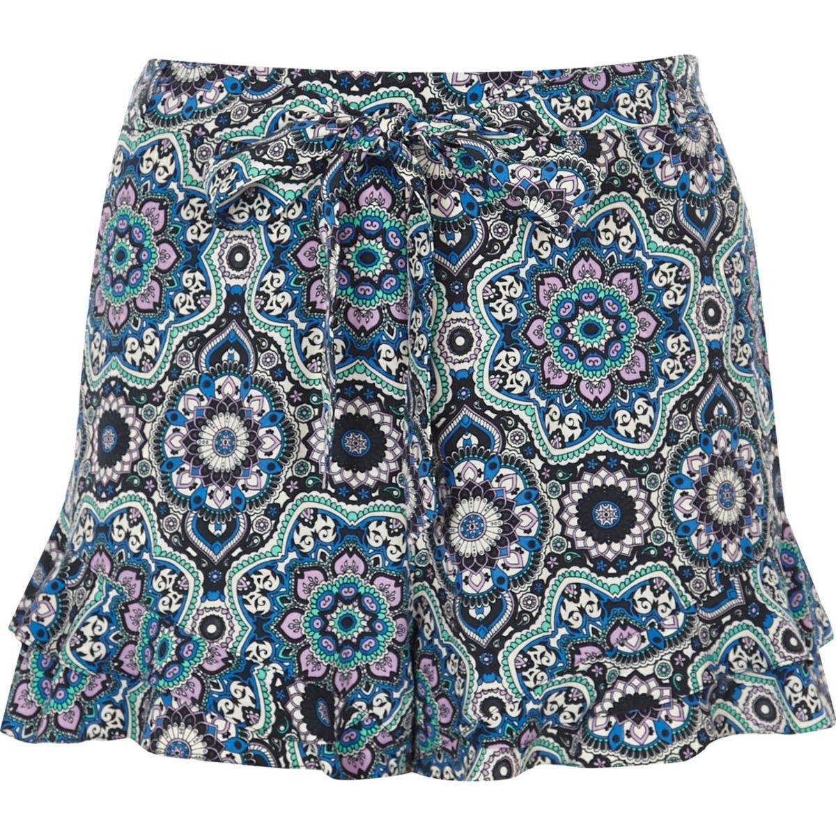 tie blue shorts Plus frill hem printed waist qgvwHa