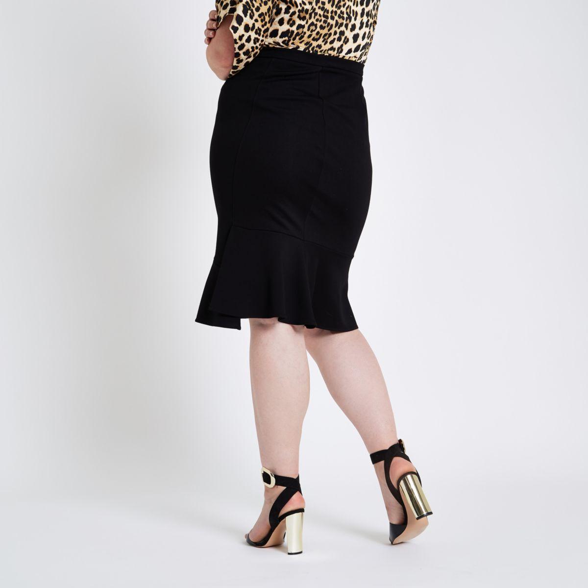 frill Plus black pencil skirt ponte PPXawE