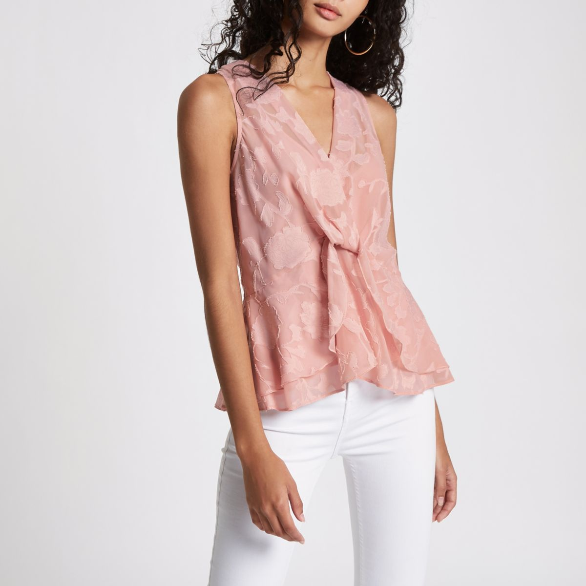 Pink jacquard sleeveless wrap front top