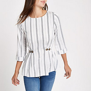 White stripe button waist loose fit top