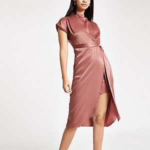 Light pink satin tie waist midi dress