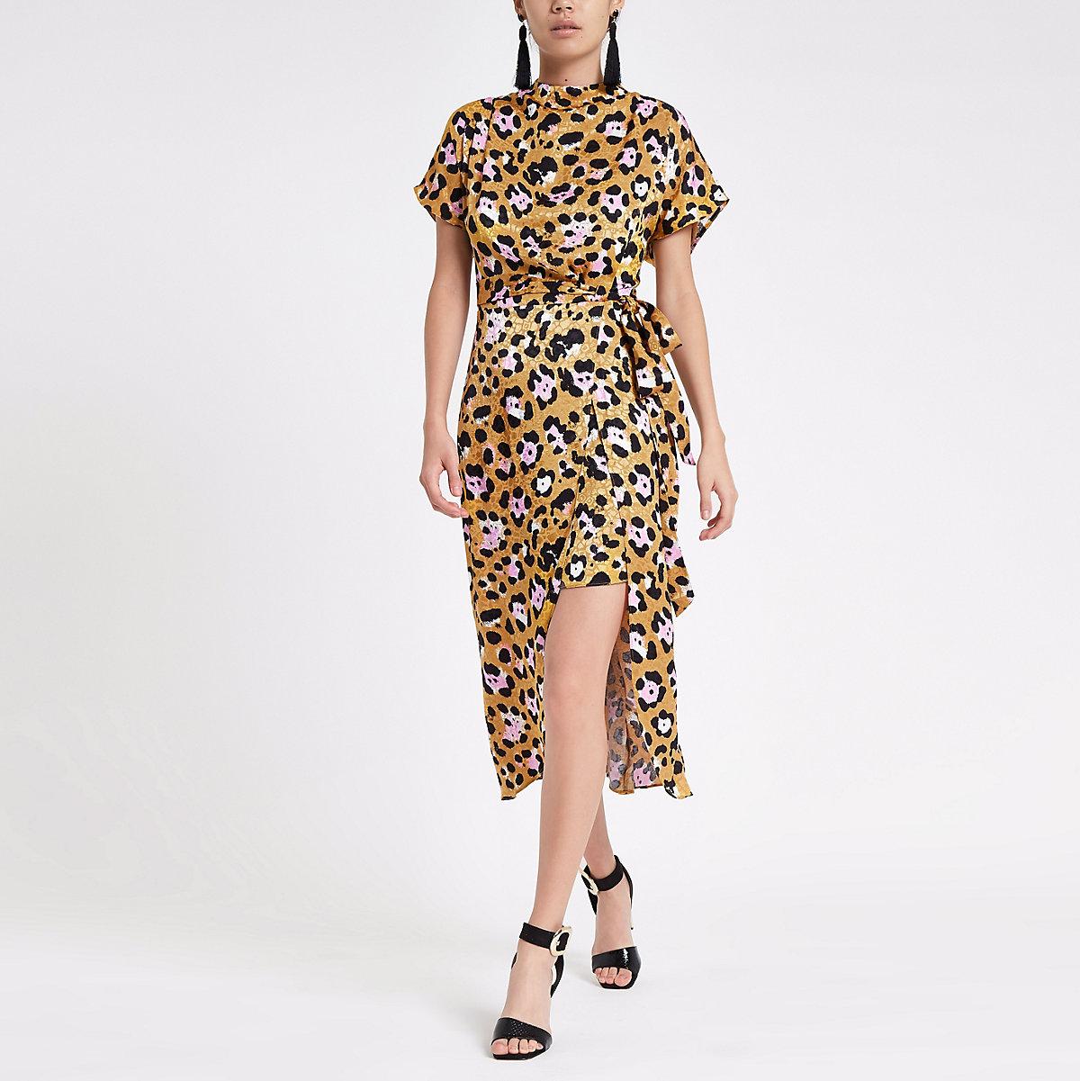 e80f18b38e Yellow leopard print tie waist midi dress - Swing Dresses - Dresses - women