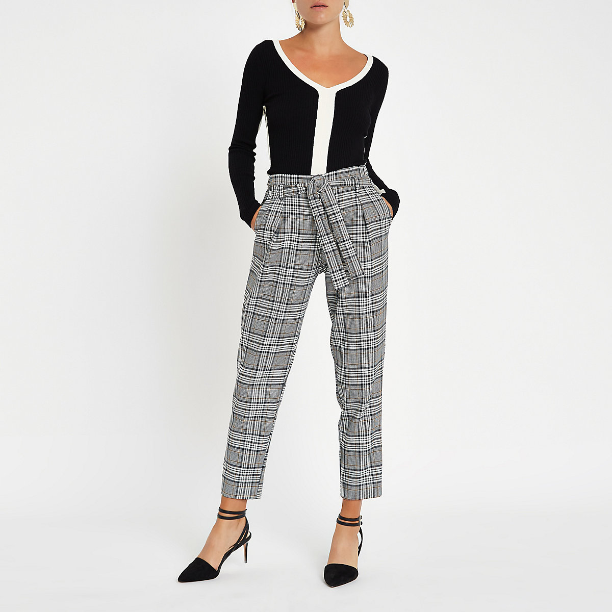 Navy check tie waist tapered trousers