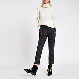 Navy check straight leg trousers