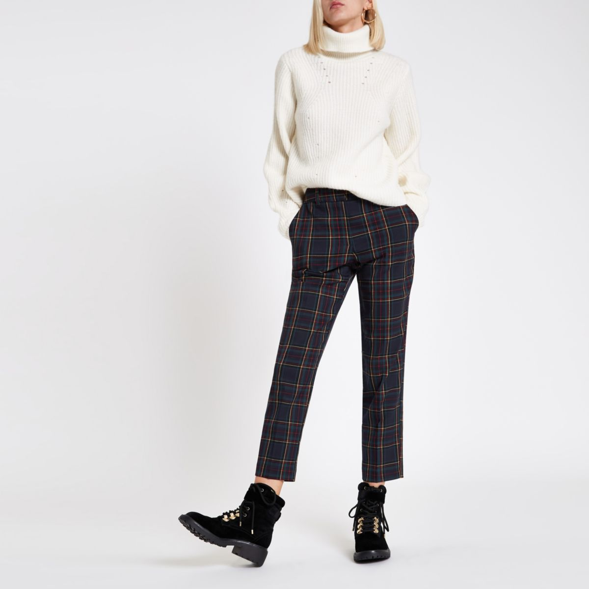 Navy check straight leg pants