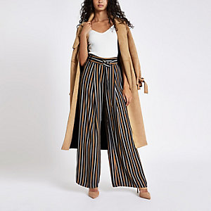 Navy tan stripe wide leg belted trousers