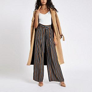 Navy tan stripe wide leg belted pants