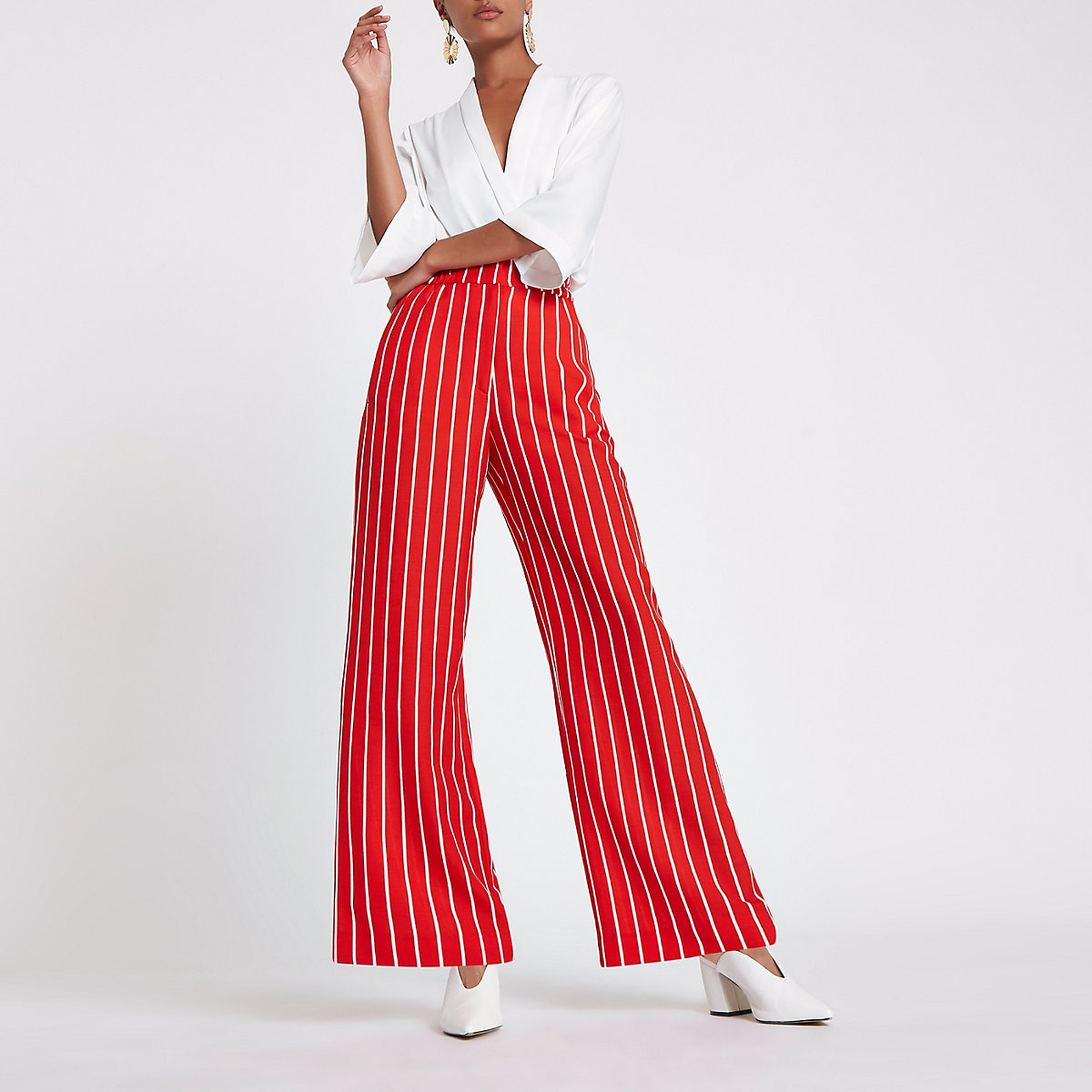 Red stripe print wide leg trousers