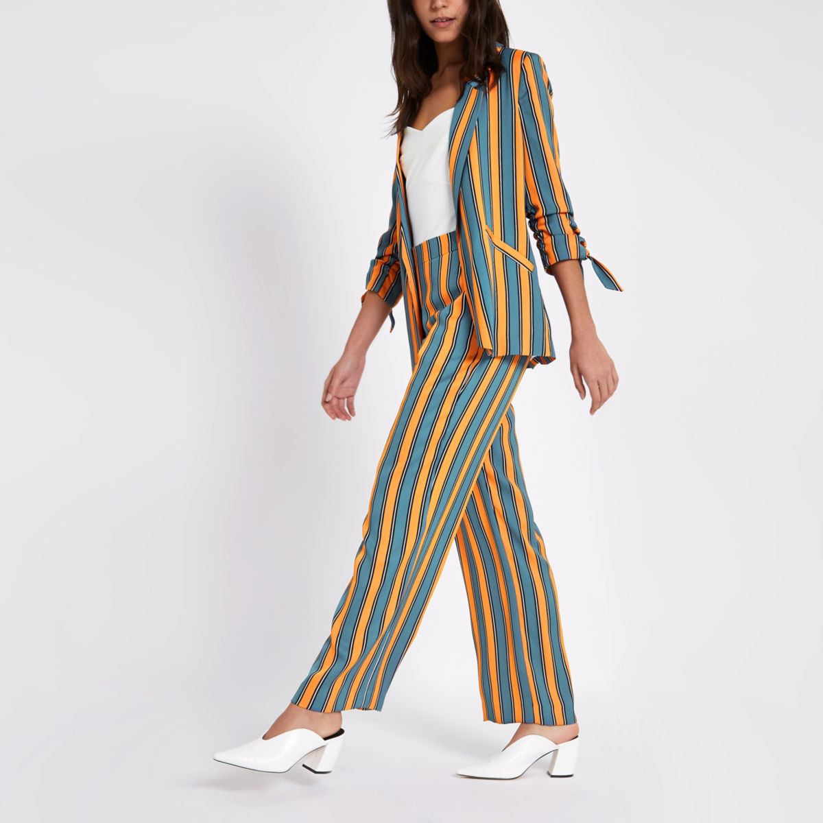 Blue stripe print wide leg pants