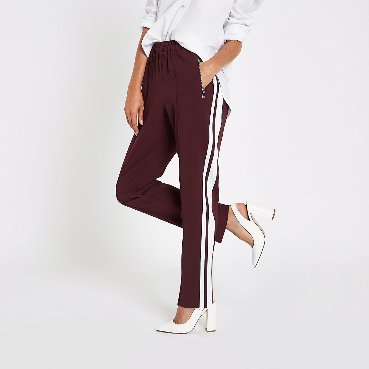 Dark red straight wide leg joggers