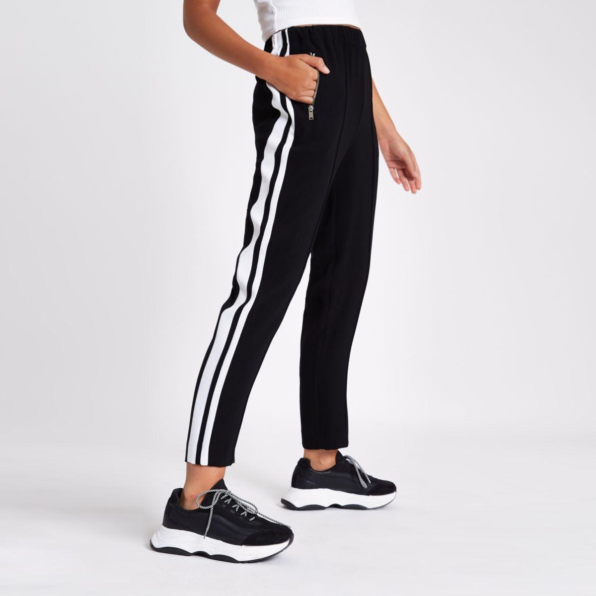 Black side stripe straight leg trousers