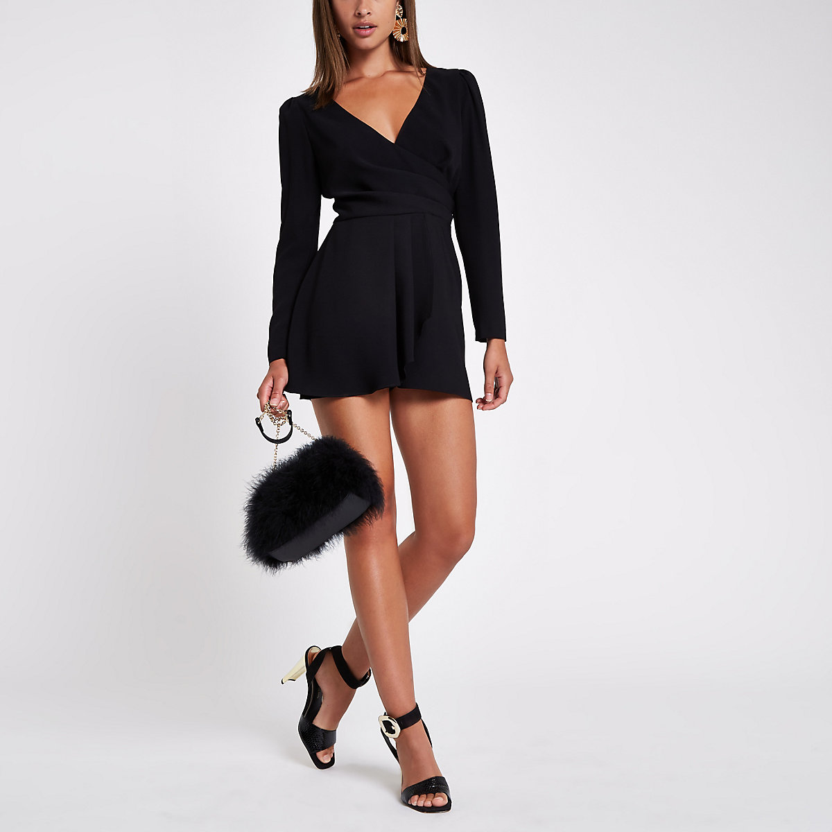 Black V neck wrap playsuit