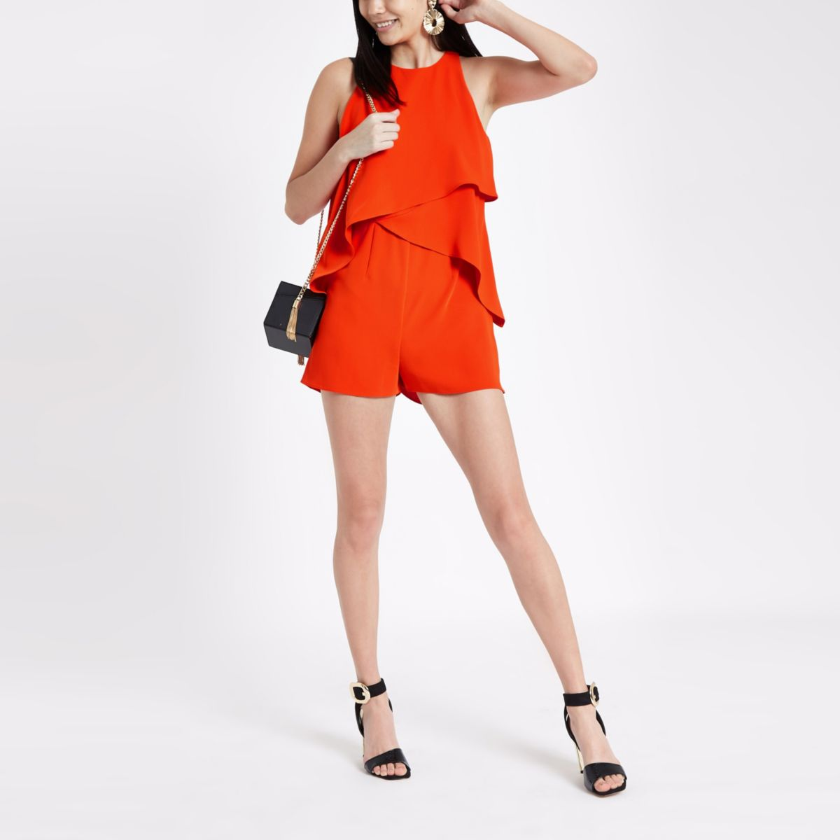 Red frill sleeveless playsuit