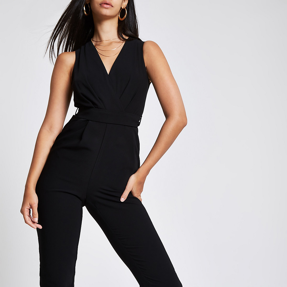 Black wrap front tie waist jumpsuit