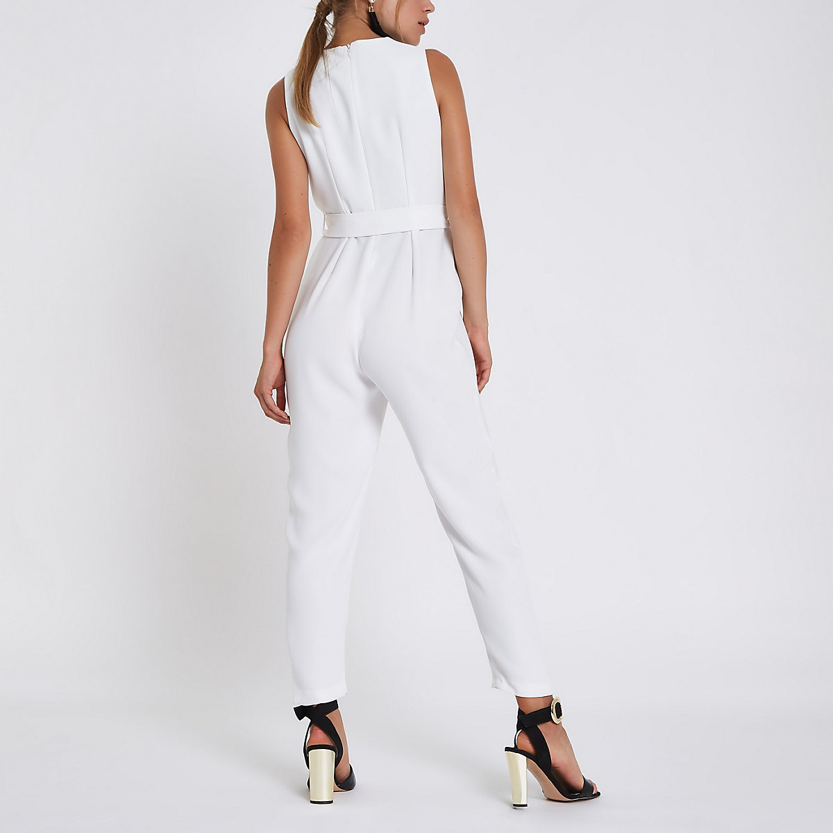 764108c62760 White wrap front tie waist jumpsuit - Race Day Dresses   Outfits - women