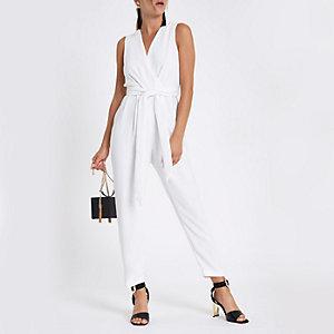 White wrap front tie waist jumpsuit