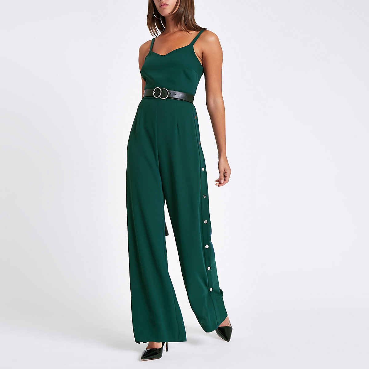 Dark green wide leg popper side jumpsuit