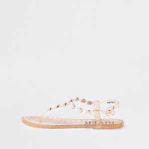 Gold pearl embellished jelly sandals