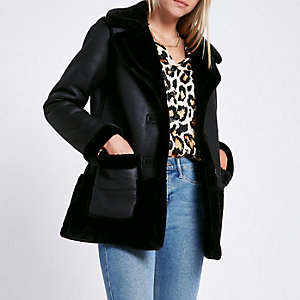 Black reversible suedette shearling coat