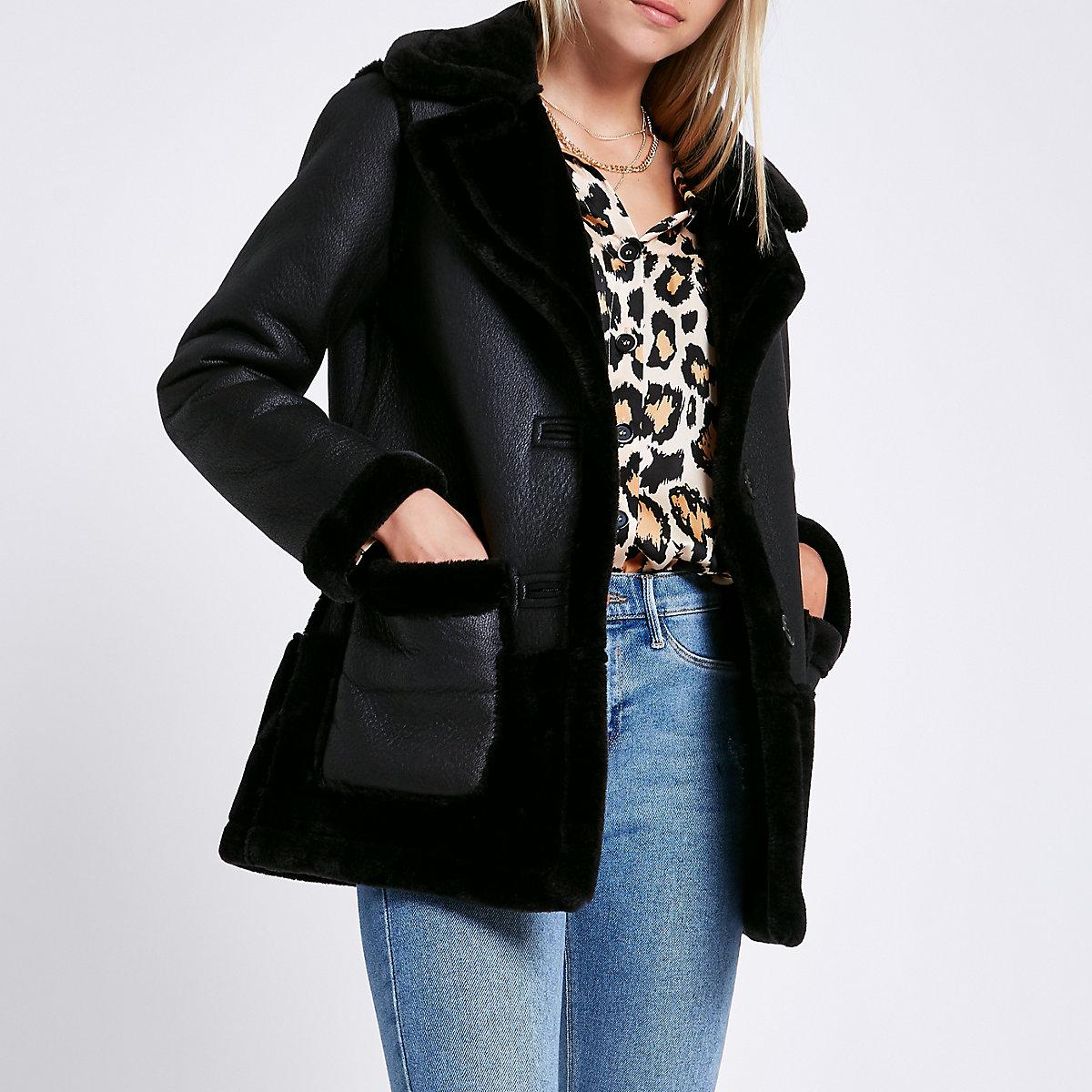 Black reversible suedette shearling coat