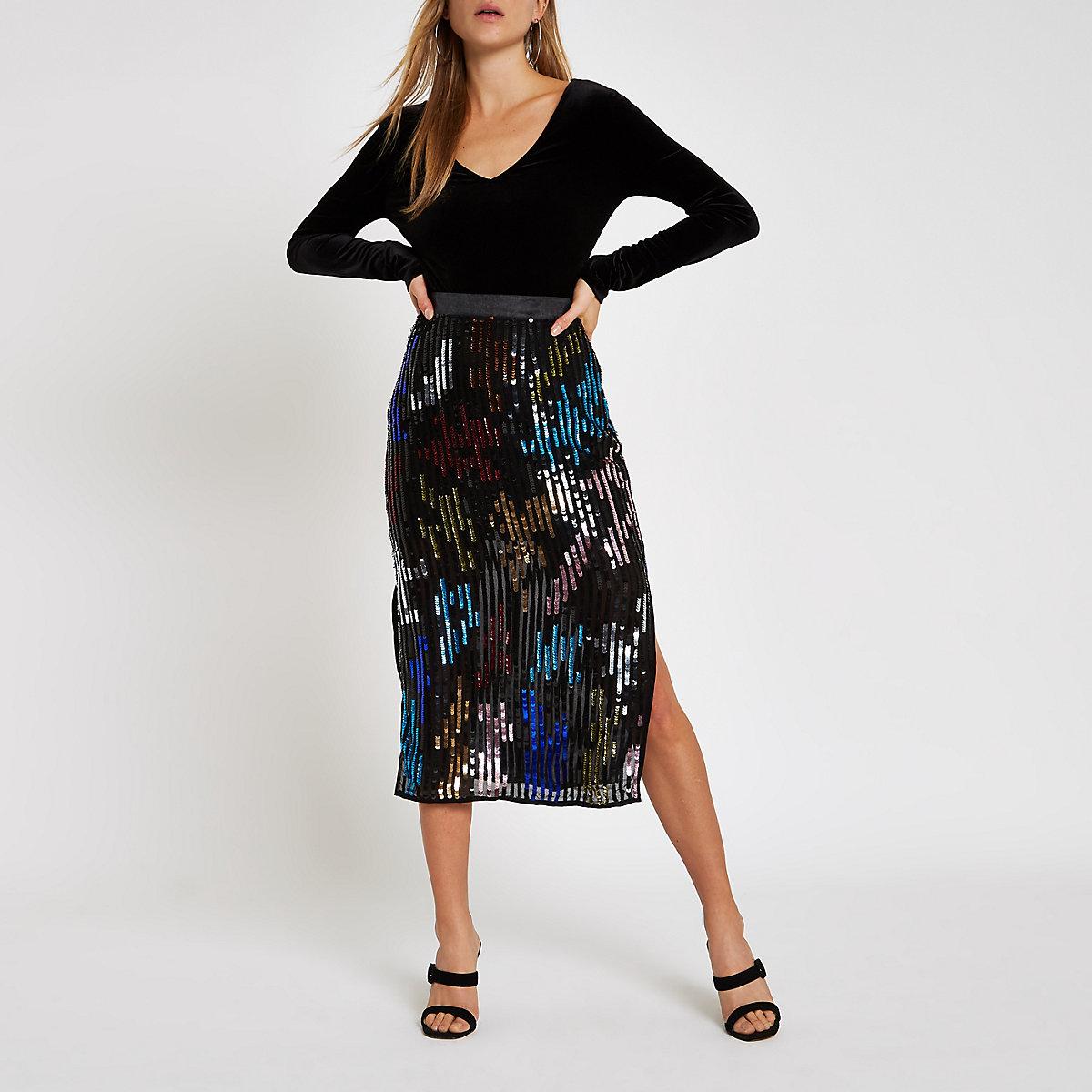 Black multicoloured sequin pencil skirt