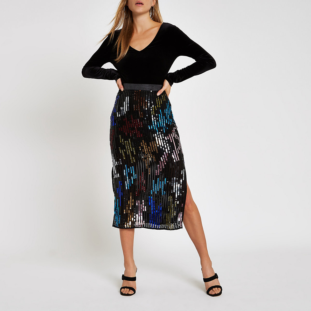 Black multicolored sequin pencil skirt