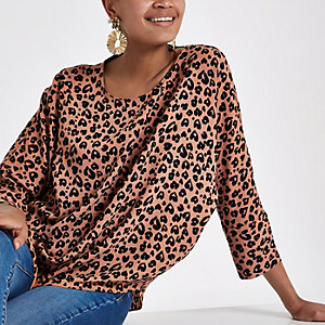 Brown leopard print bar back top
