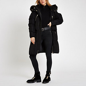 Black faux fur trim longline puffer jacket
