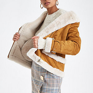 Tan faux fur aviator jacket