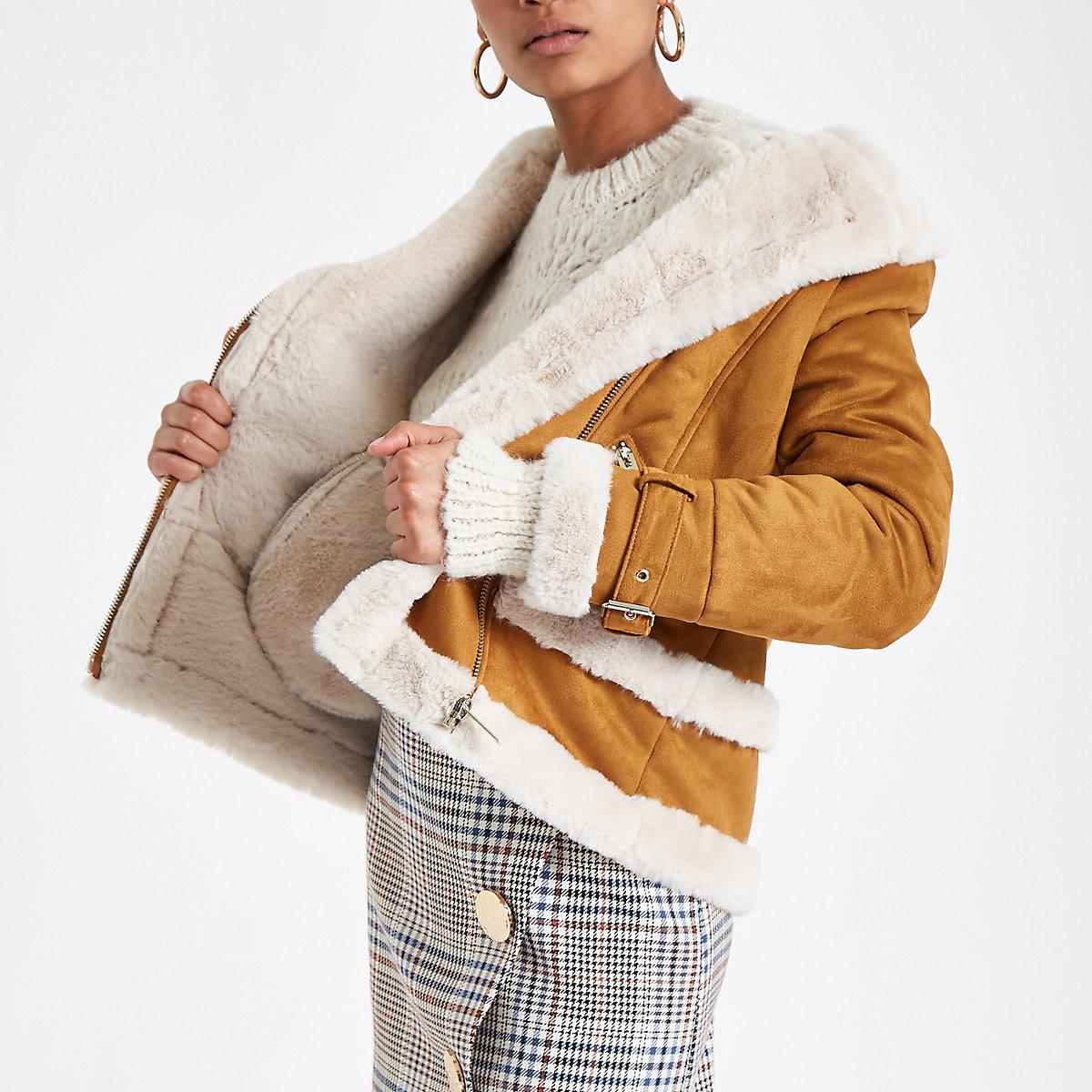 Tan faux fur aviator jacket