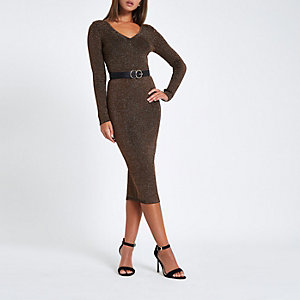 Brown metallic V neck fitted long sleeve top