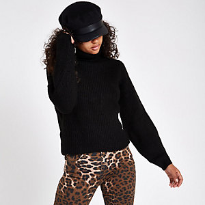 Black knit roll neck jumper