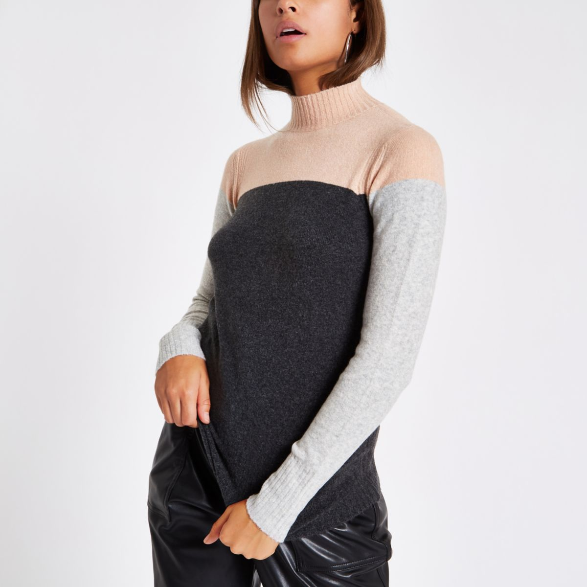 Dark grey color block turtle neck sweater