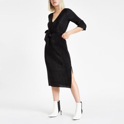 Black Plisse Tie Waist Midi Dress by River Island