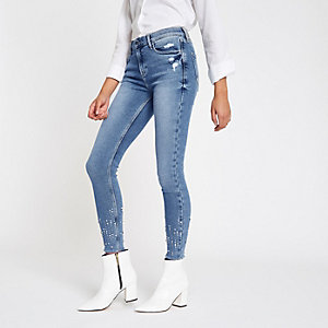 Amelie – Blaue Skinny Jeans mit Pailletten