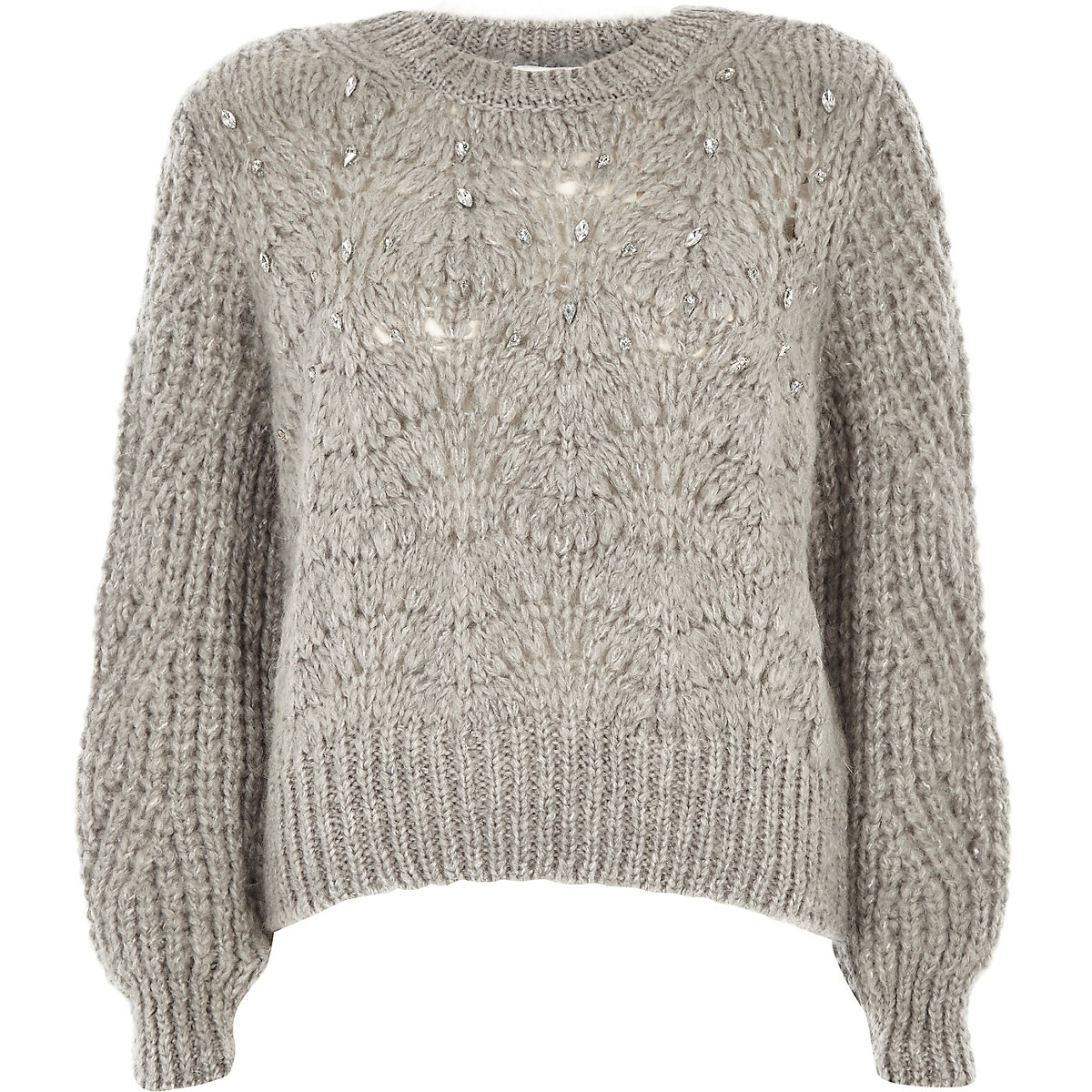 Petite grey knit crew neck embellished sweater