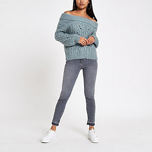 Petite blue knit bardot neck sweater