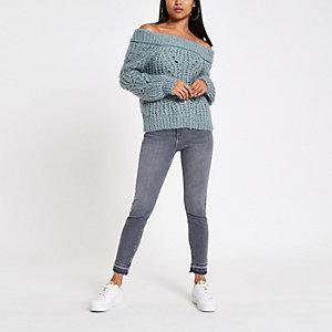 RI Petite - Blauwe gebreide pullover met bardothals