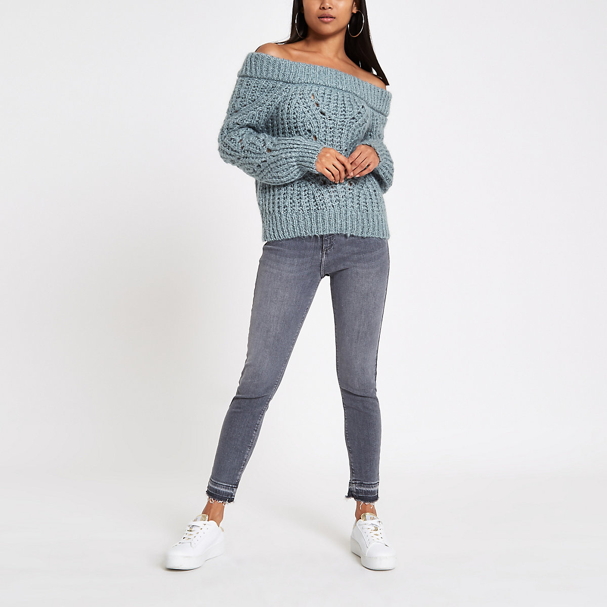 Petite blue knit bardot neck sweater