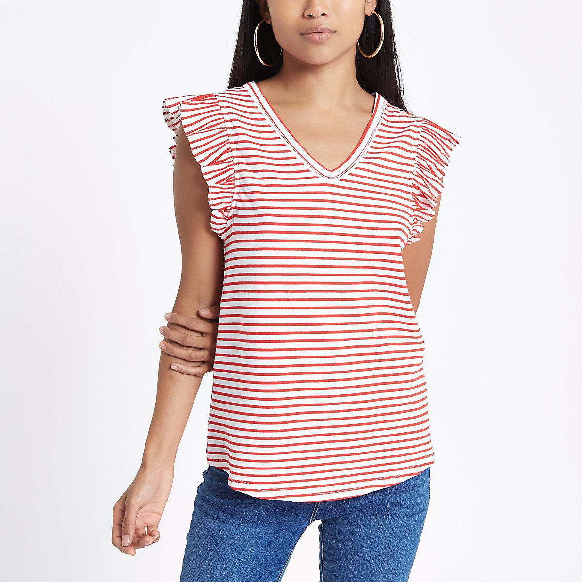 Petite Red stripe frill V neck tank top