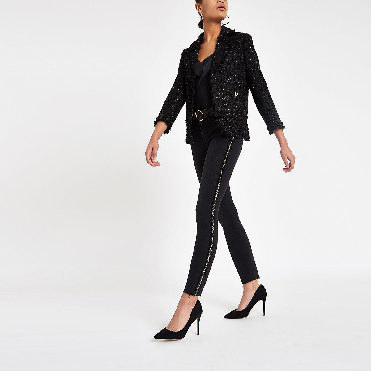 Amelie – Jean skinny noir orné sur le côté
