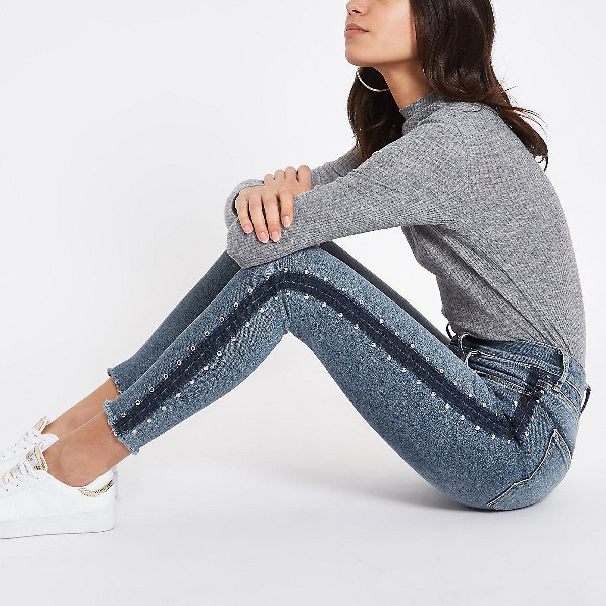 Harper - Blauwe superskinny jeans met studs opzij