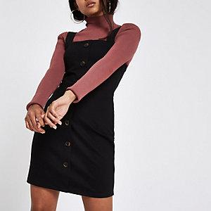 Petite – Schwarzes Minikleid mit Knöpfen