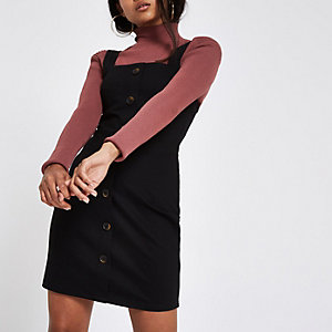 Petite black bodycon button up mini dress
