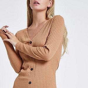 Petite – Robe moulante marron clair boutonnée sur le devant