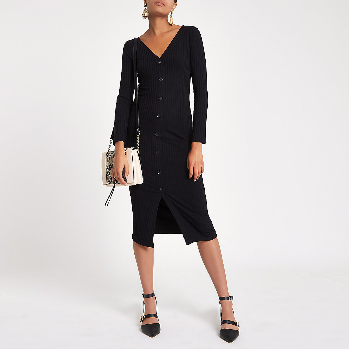 Black ribbed button front bodycon dress